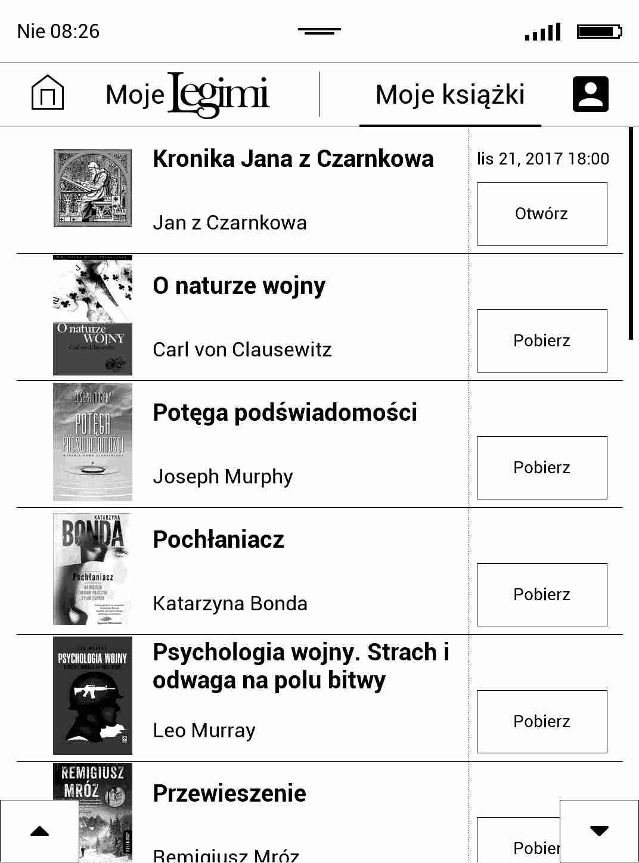 Lista e-booków dodanych do półki w aplikacji Legimi na czytniku PocketBook TouchHD2