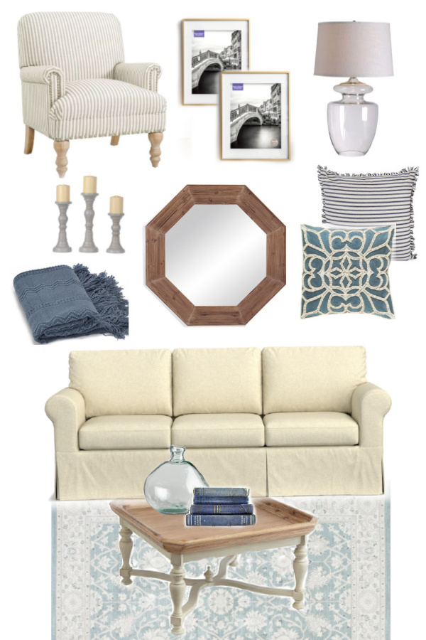 living room mood board blue color scheme