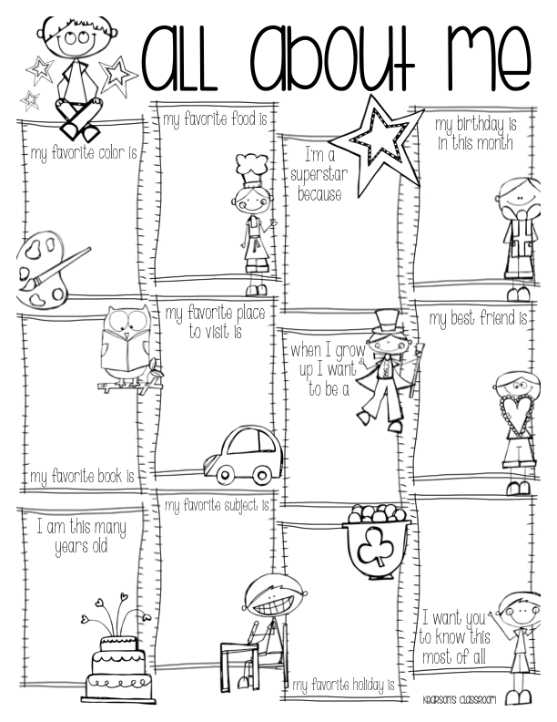 Adaptable image for free printable all about me poster