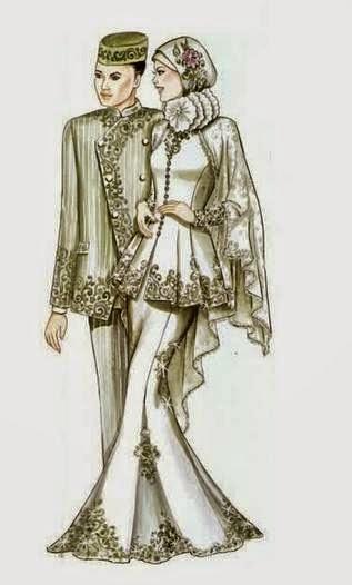 Contoh model baju pengantin muslim berpasangan terbaik
