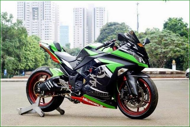 Modif Ban Tapak Lebar Pelek Racing - Contoh Gambar Dan Foto Konsep Desain Modifikasi Kawasaki Ninja 4 Tak 250cc Sporti Ala Moge Keren Banget