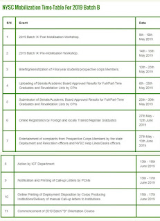 NYSC 2019 Batch B Official Mobilization Timetable Is Out