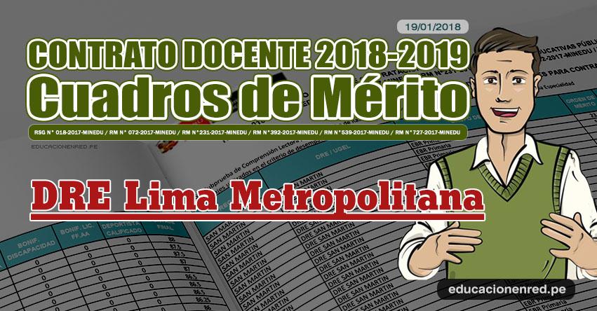 DRE Lima Metropolitana: Cuadros de Mérito Contrato Docente 2018 - 2019 (.PDF) www.drelm.gob.pe