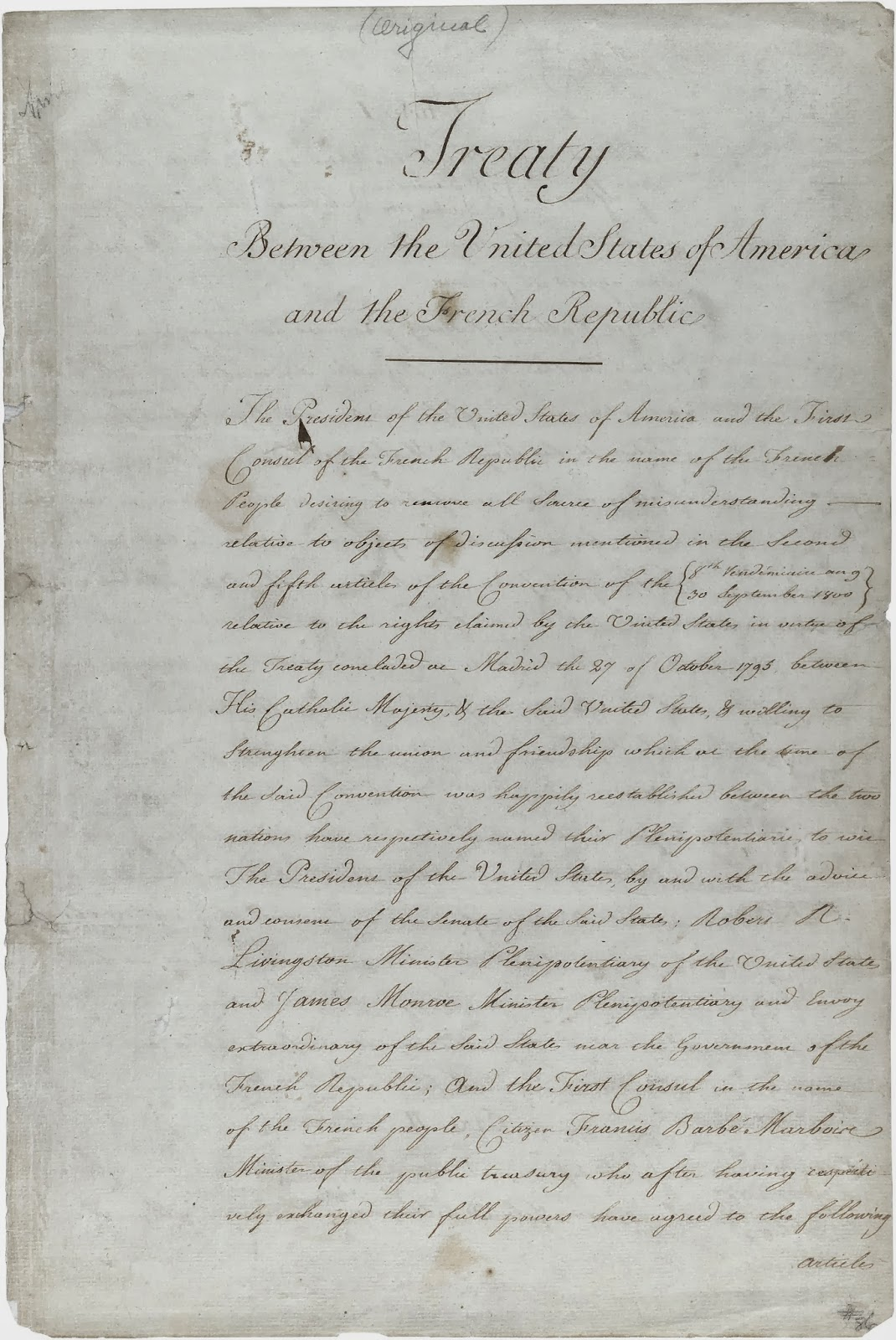 Today in History: OCTOBER 20 = Louisiana Purchase Ratified