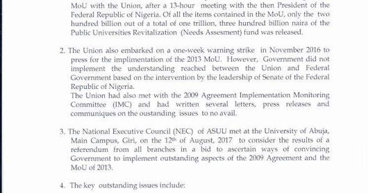 ASUU Declares Indefinite Strike From 13th August 2017