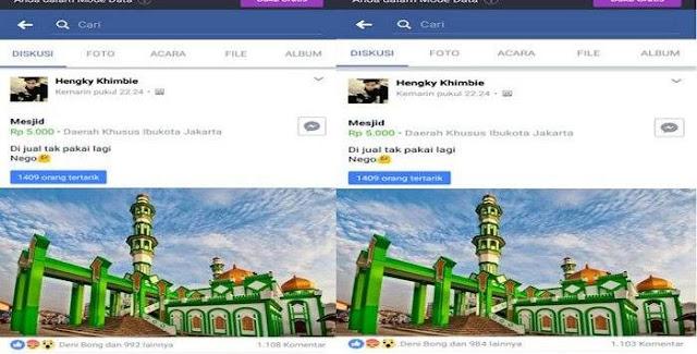Kurang Kerjaan, Seorang Netizen Jual Masjid Raya di Facebook Bikin Resah