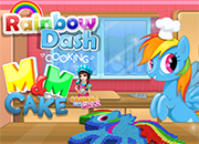 Rainbow Dash Cooking M & M Cake