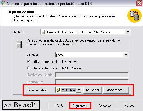 Seleccionando base de datos a la que se exportarán los datos