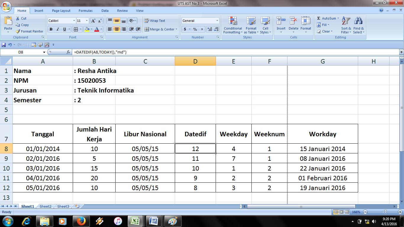 Rumus Datedif Di Excel