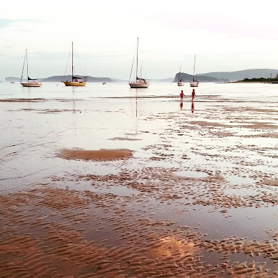 Beach at sunset with the tide out. Two people are paddling in the distance, and behind them are a number of moored yachts.