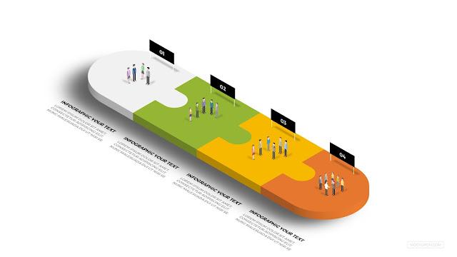 4 Step Process-3D Puzzle Infographic Process Diagram