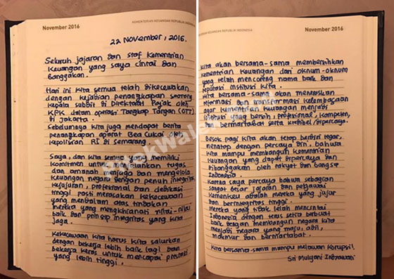 Inilah Tulisan Sri Mulyani Untuk Jajaran Kementerian Keuangan Yang Jadi Viral