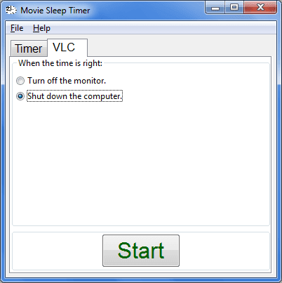 Movie Sleep Timer scheda VLC