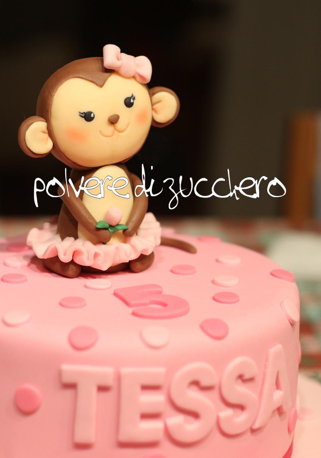 cake design pasta di zucchero torta compleanno scimmietta polvere di zucchero monkey bimba