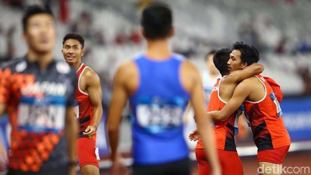 Lalu M Zohri dkk Meraih Medali Perak di Estafet 4x100 M