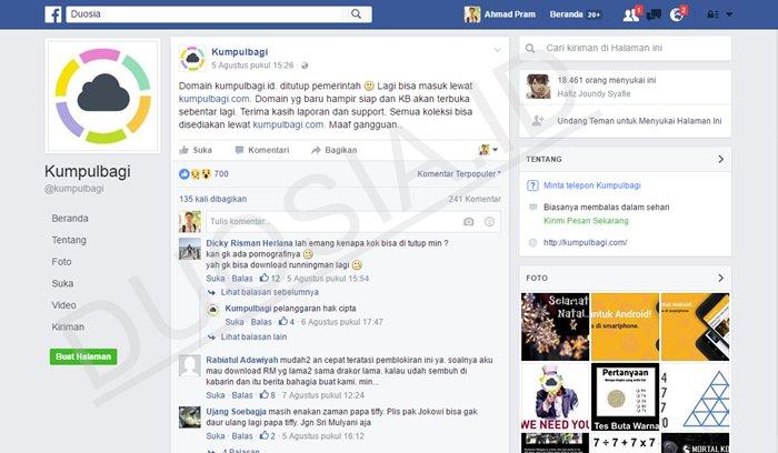 Pengumuman KumpulBagi di Facebook