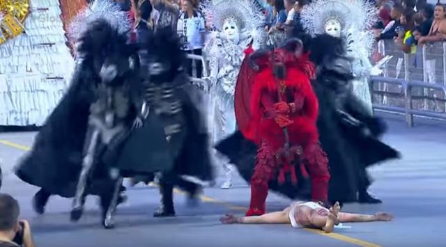 Gaviões da Fiel encena Satanás vencendo Jesus em desfile no carnaval 2019