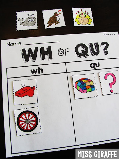 WH or QU digraphs word sort and other fun digraphs teaching ideas