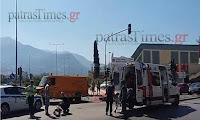 Τροχαίο μεταξύ αυτοκινήτου και μηχανής με τραυματία στην Πάτρα (φώτο)