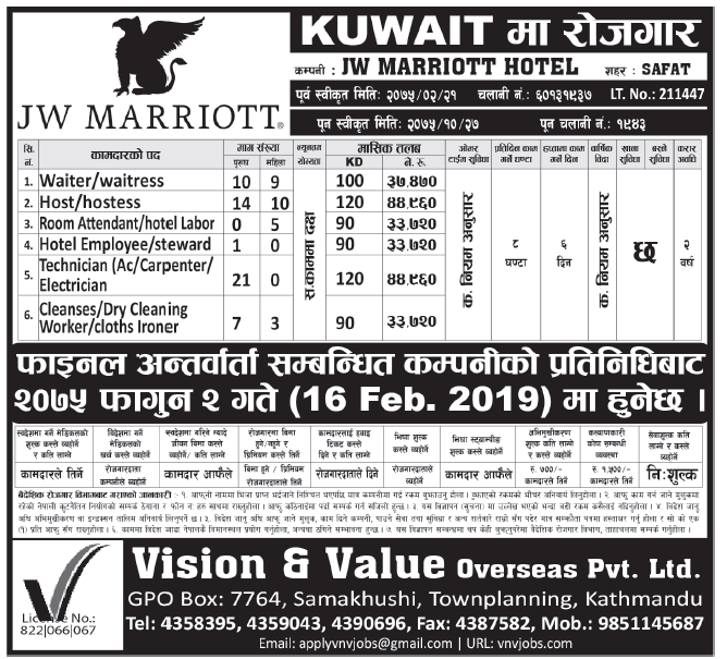 Jobs in Kuwait for Nepali, Salary Rs 44,960