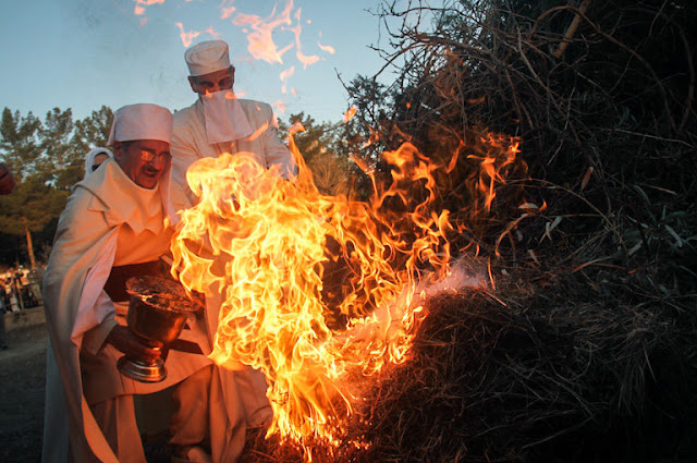 The Zoroastrians making fire for the Sadeh Festival in Iran.