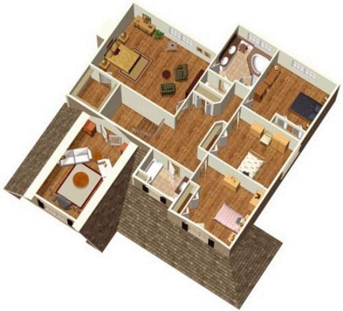 denah rumah sederhana 4 kamar tidur tampak minimalis