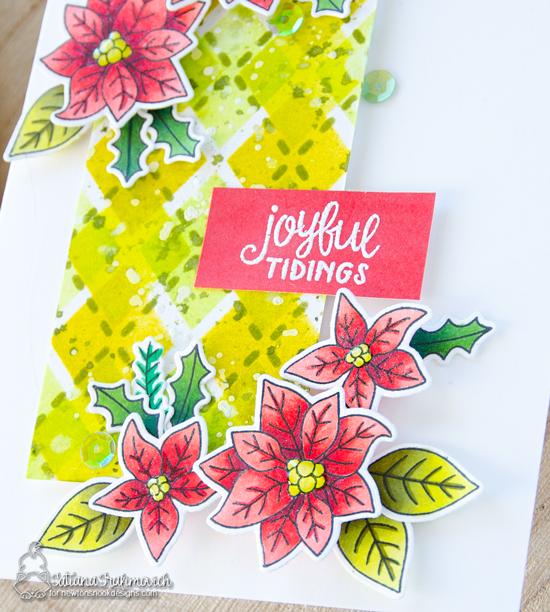 Joyful Tidings Poinsettia Card by Tatiana Trafimovich   Poinsettia Blooms Stamp Set and Argyle Stencil Set by Newton's Nook Designs #newtonsnook #handmade