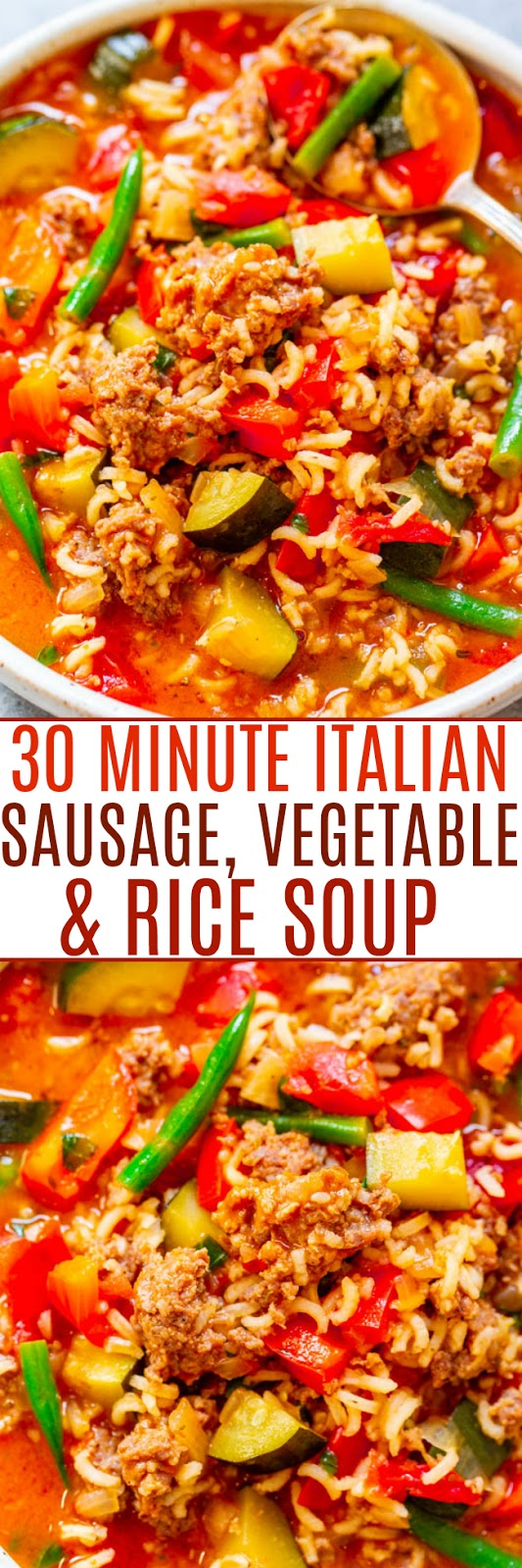 30-Minute Italian Sausage, Vegetable, and Rice Soup