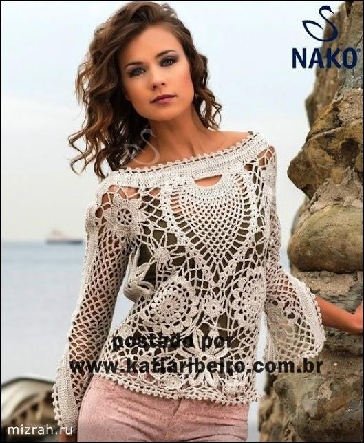Blusa em crochê com gráfico - Katia Ribeiro Crochê Moda e Decoração cd83329dade