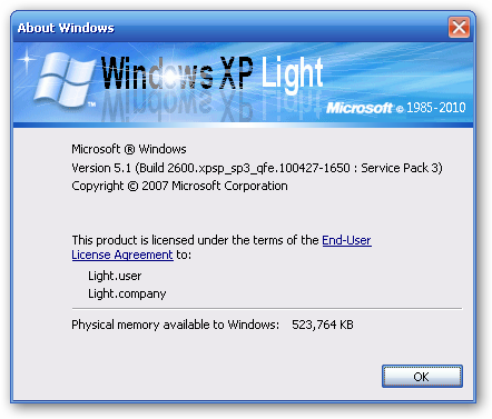 نسخه Win Xp Light Sp3 ويندز اكس بى لايت