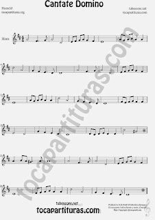 Cantate Domino Partitura de Trompa y Corno Francés en Mi bemol Sheet Music for French Horn Music Scores