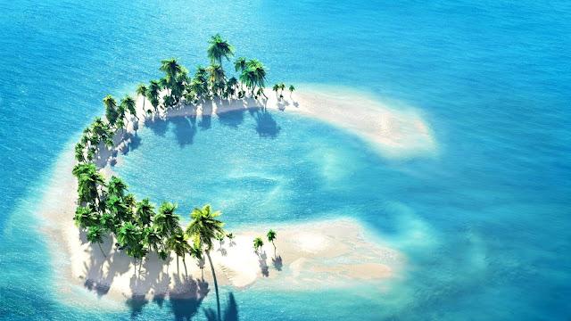 Mooie wallpaper met een tropisch eiland met palmbomen er op.