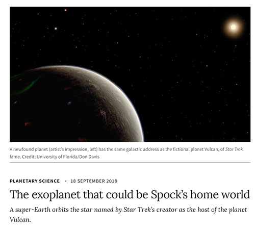 Gene Roddenberry had identified 40 Eridani as the star for Spock's home planet Vulcan (Source: Planetary Science, 18 Sep 2018)