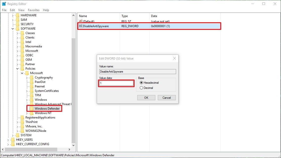 Sử dụng Registry cũng có thể vô hiệu hóa hoạt động của Windows Defender