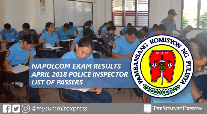 April 2018 NAPOLCOM exam results: Police Inspector passers