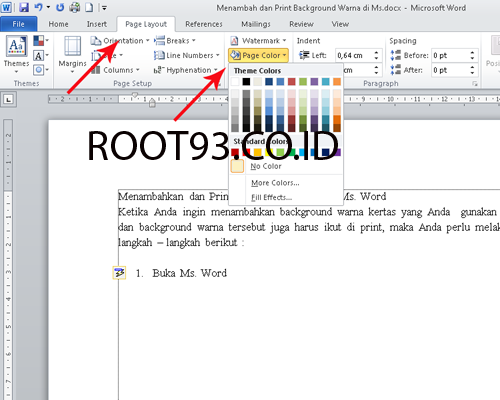 Menambahkan background warna di ms word