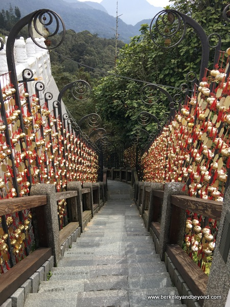 "prayer bells line ""Stairway to Heaven"" at Wenwu Temple at Sun Moon Lake in Taiwan"