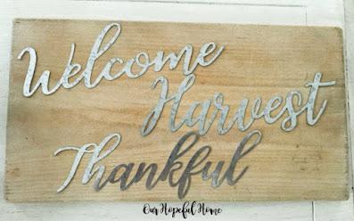 galvanized words welcome harvest thankful