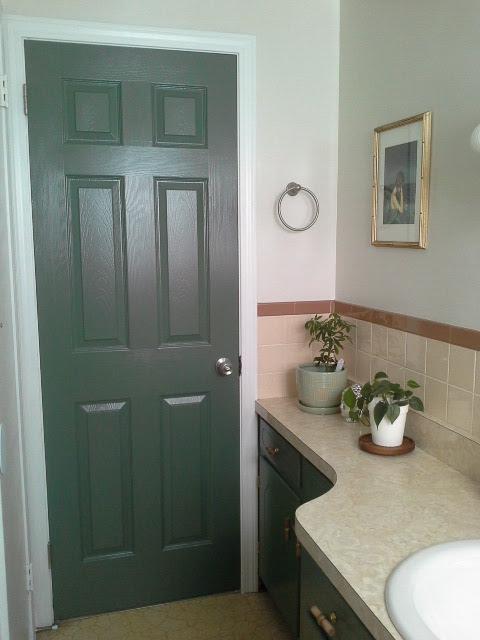Vintage Bathroom Makeover green cabinets door