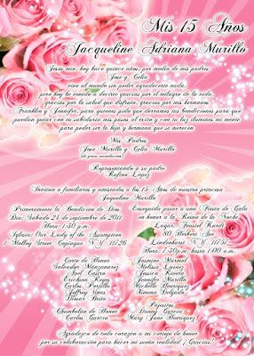 Tarjeta de Invitación Novedosa de 15 Años en color Rosado con Rosas y destellos brillantes