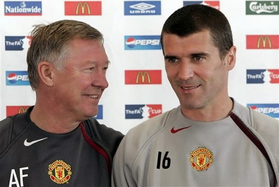 Sir Alex Ferguson and Roy Keane during happier days at Manchester United
