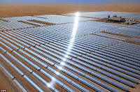 The world's largest: The Shams 1 concentrated solar energy power plant in Abu Dhabi features more than 258,000 mirrors mounted on 768 tracking parabolic trough collectors, covering an area of 2.5 sq/km (Credit: EPA) Click to Enlarge.