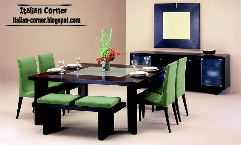 contemporary dining room furniture green italy design. Black Bedroom Furniture Sets. Home Design Ideas