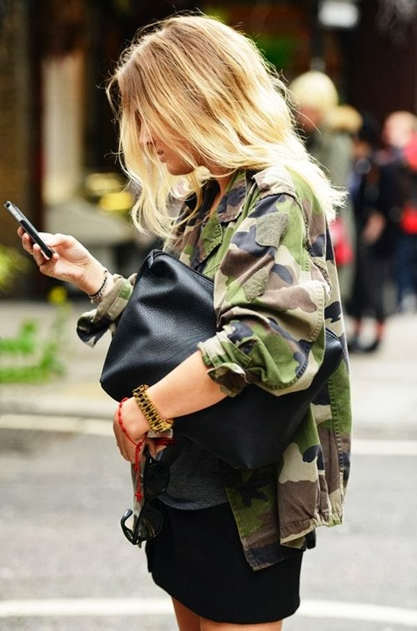Women's Fashion camo jacket + all black outfit