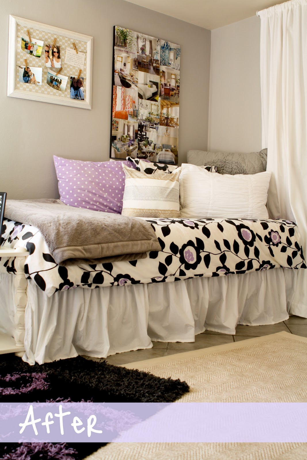 Purple gray white oh my michaela noelle designs - Dorm room bedding ideas ...
