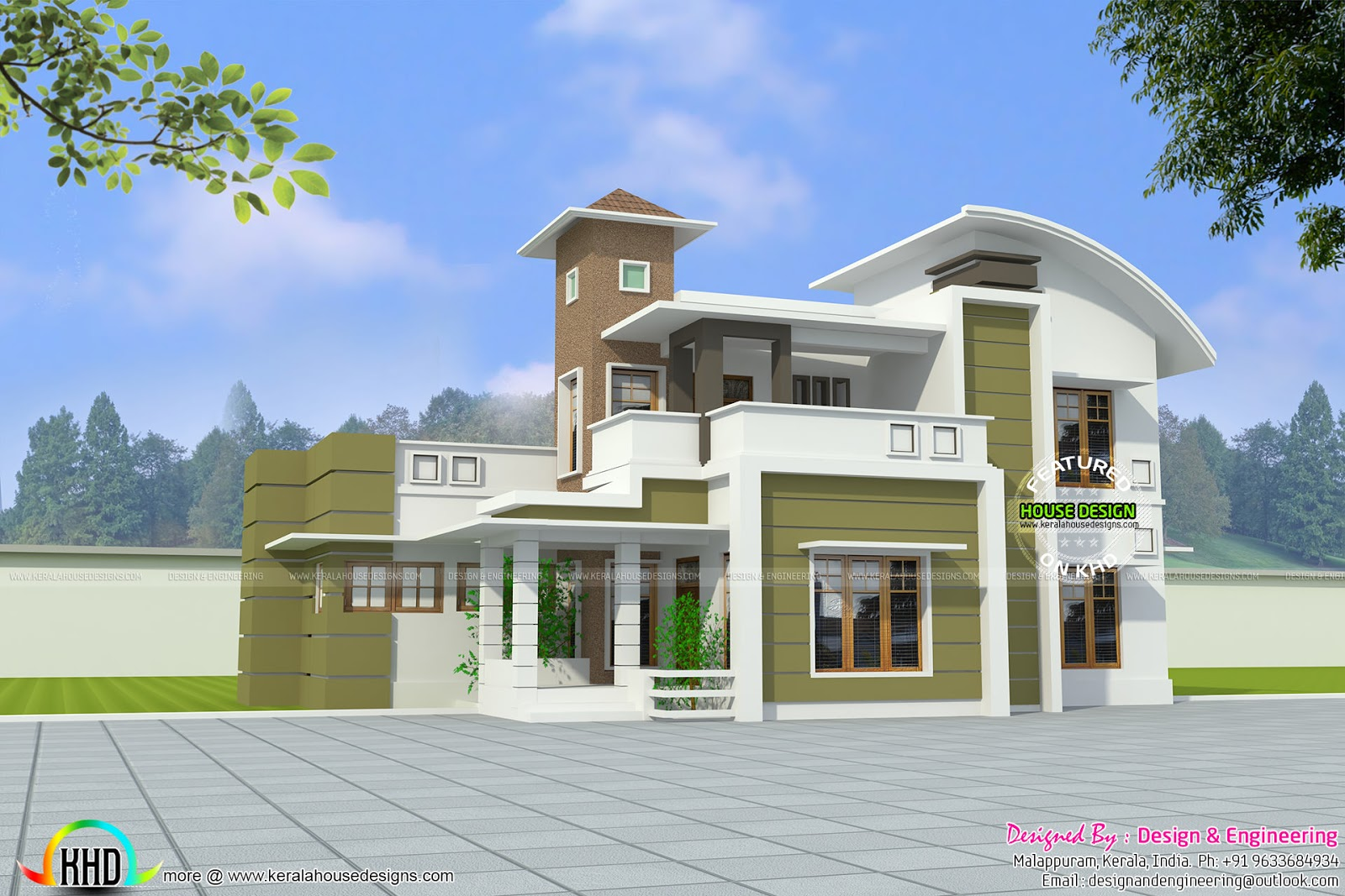 Modern curved roof house in 2574 sq ft kerala home for Curved roof house plans