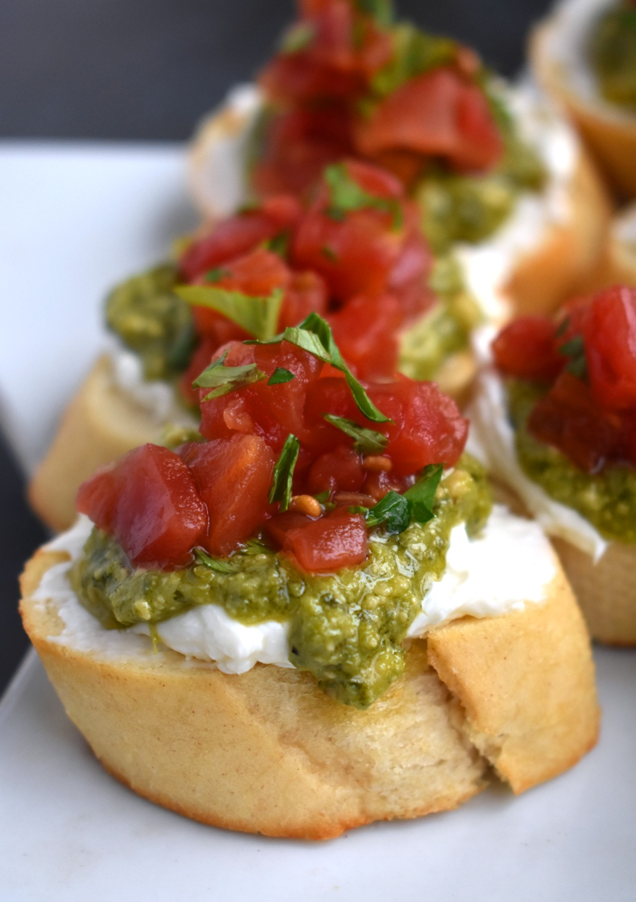 Tomato Pesto Cream Cheese Crostini