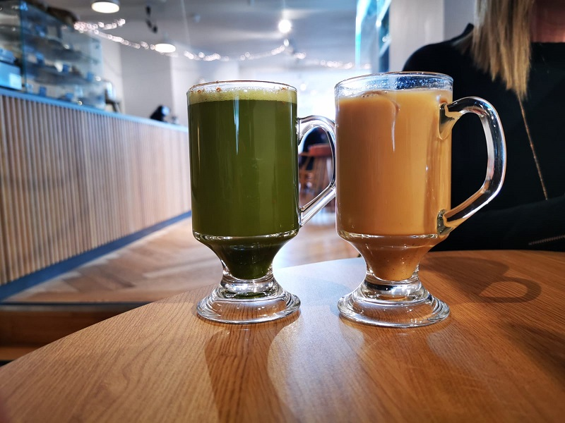 Matcha and iced coffee at the Dowry, Lerwick