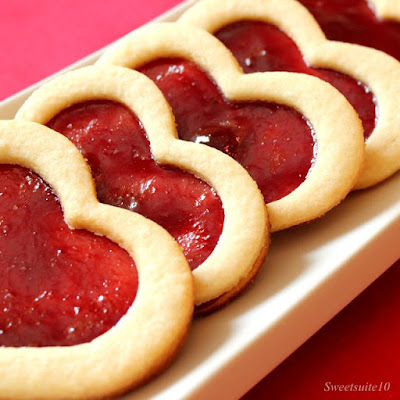 Raspberry Window cookies on a tray