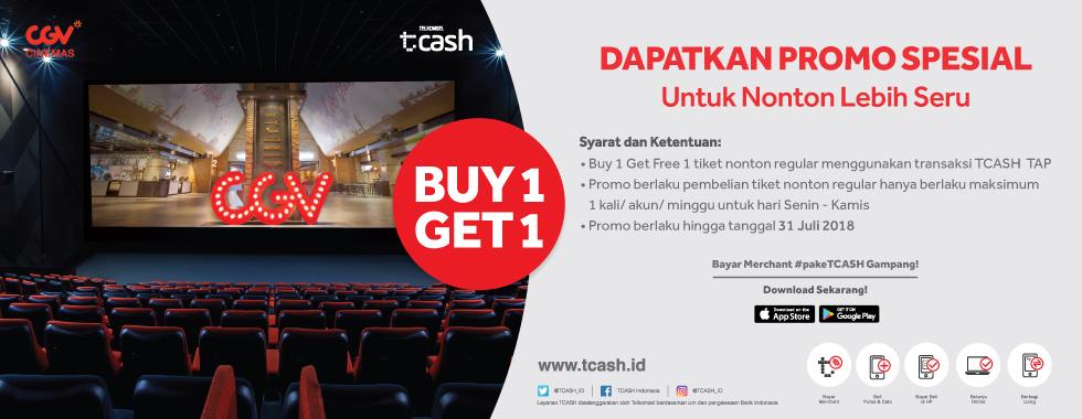 CGV - Promo Buy 1 Get 1 Free Tiket CGV Bayar Pakai TCASH (s.d 31 Okt 2018)